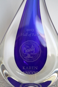 Close-up of the engraved words: 2013 Hall of Fame, The Christy Award, Karen Hancock